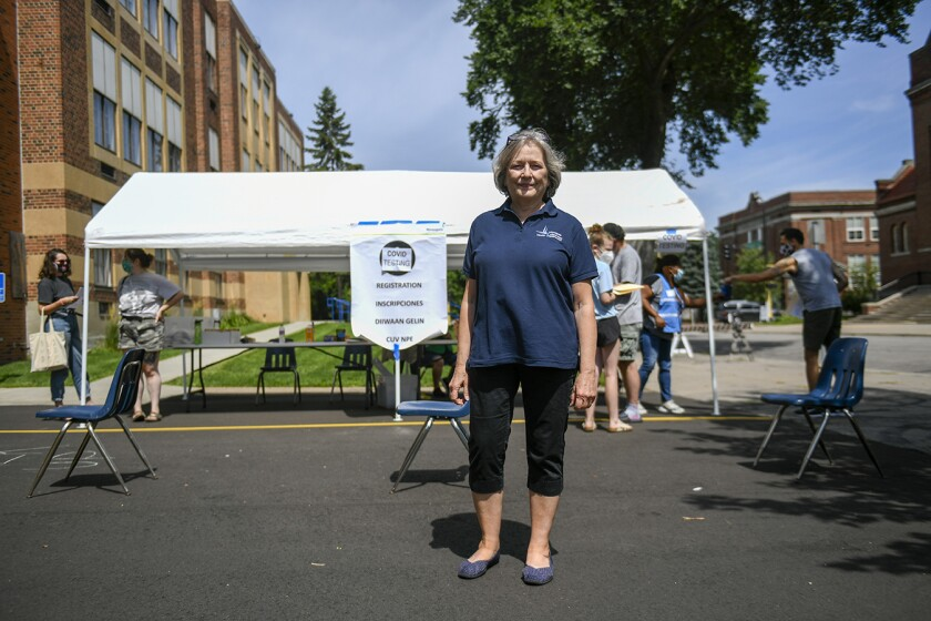 Minneapolis Health Commissioner Gretchen Musicant at a COVID-19 testing event