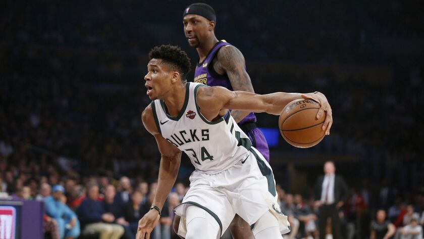 LOS ANGELES, CALIF. -- FRIDAY, MARCH 1, 2019: Milwaukee Bucks forward Giannis Antetokounmpo (34) dri