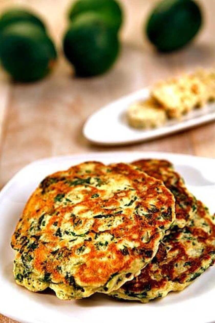 Spinach pancakes from Yotam Ottolenghi.