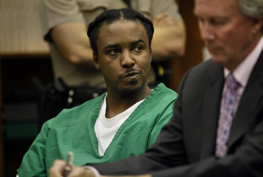 James Carter at his sentencing in San Diego Superior Court to multiple terms of life in prison without the possibility of parole for the killing of two women on Jan. 1, 2003, outside Dr. J's Liquor store in Lincoln Park.