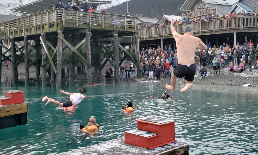 Double dare you to go jump in Alaska's Resurrection Bay. It takes courage to jump into the chilly waters, but in Seward, Alaska, it's for a good cause.