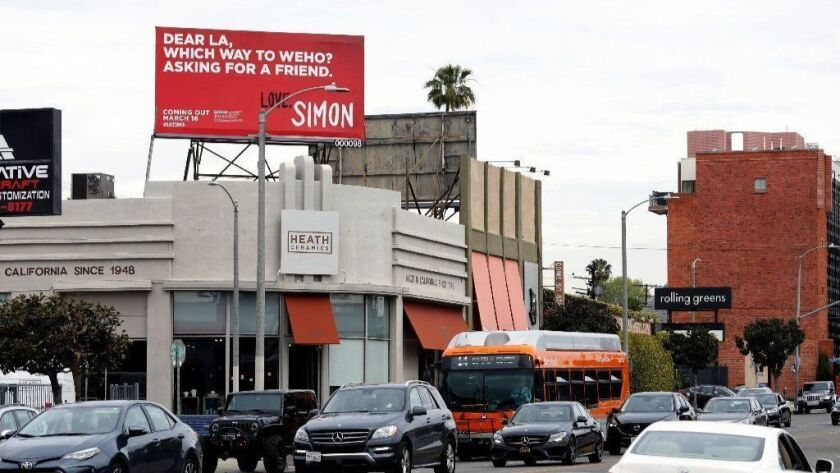 "A ""Love, Simon"" billboard on Beverly Boulevard in Los Angeles on March 7."