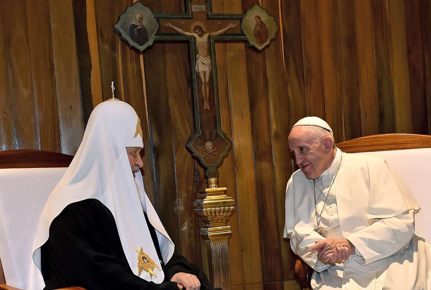 Pope Francis, right, leader of the Roman Catholic Church, meets with Patriarch Kirill, the head of the Russian Orthodox Church, in Havana.