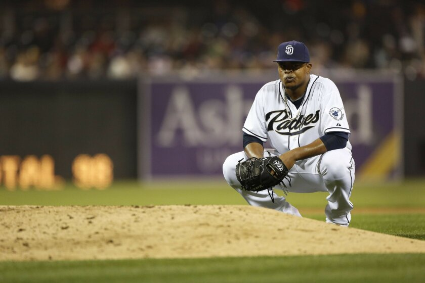 Padres starter #37 Edinson Volquez after allowing a bunt to load the bases, Volquez was pulled for Adam Cashner in the seventh.