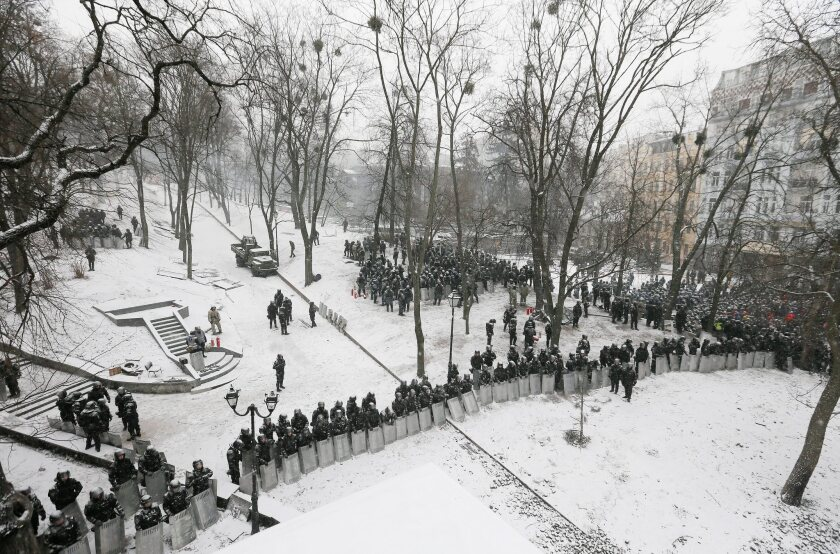 Riot police stand in line in a park during an anti-government protest in downtown Kiev.