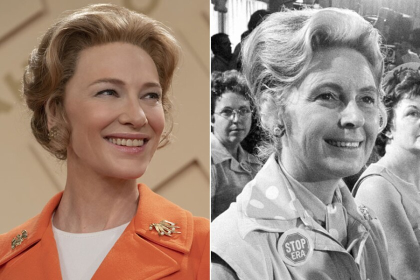 "Cate Blanchett as Phyllis Schlafly in ""Mrs. America"" and the real Schlafly"