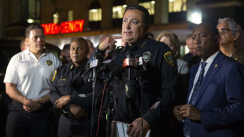 Houston Police Department Chief Art Acevedo updates the media on the conditions of officers injured during a shooting Jan. 28.