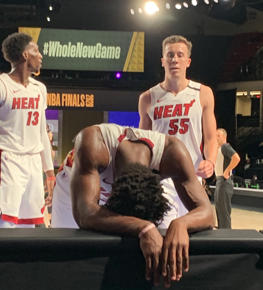Heat star Jimmy Butler gathers himself after an exhausting Game 5 effort Friday night.