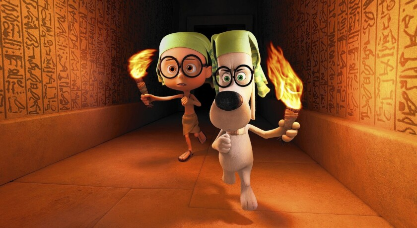 """Sherman, voiced by Max Charles, left, and Mr. Peabody, voiced by Ty Burell, in the DreamWorks Animation film """"Mr Peabody & Sherman."""" Released March 7, the film has grossed $261 million at the worldwide box office to date, well below that of a typical DreamWorks Animation movie."""