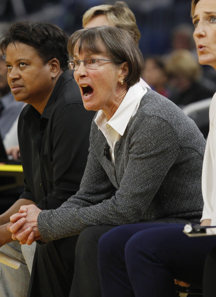 Stanford head coach Tara Vanderveer reacts during the first half of an NCAA college basketball game against San Francisco, Saturday, Nov. 9, 2019, in San Francisco. (AP Photo/George Nikitin)