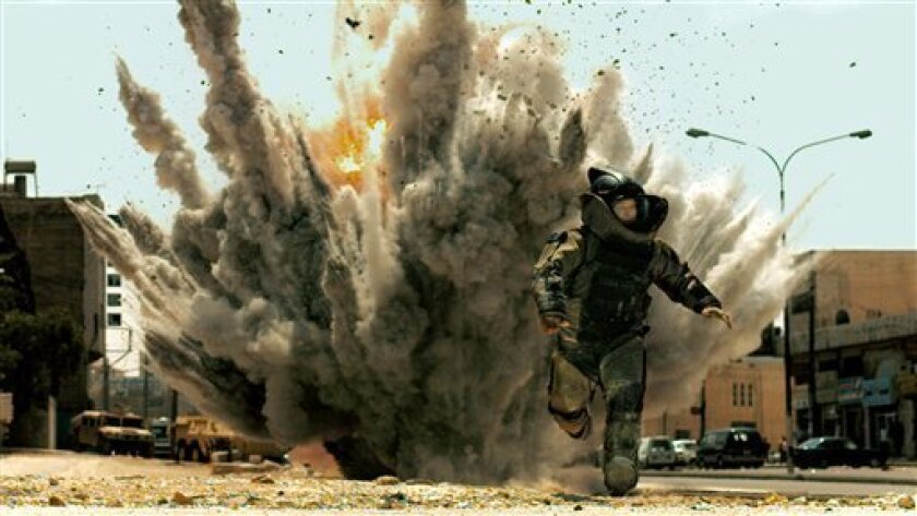 """FILE - In this film publicity file image released by Summit Entertainment, Jeremy Renner is shown in a scene from, """"The Hurt Locker."""" A federal judge has dismissed a case filed by an Iraq war veteran who claimed """"The Hurt Locker"""" was based on his experiences as a bomb disposal expert. (AP Photo/Summit Entertainment)"""
