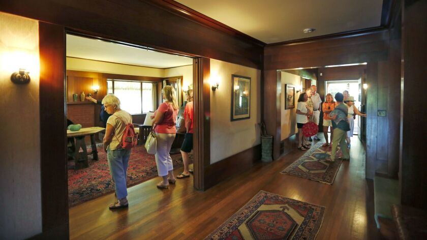 After a four-month closure, Balboa Park's historic Marston House was open for tours Sunday. During the closure, $462,000 from a bond was spent to replace 8,216 square feet of roof, including shingles, roof gutters and downspouts.