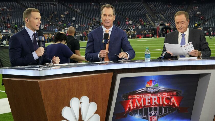 NBC commentators, from left, Liam McHugh, Cris Collinsworth and Al Michaels before an NFL game between the Houston Texans and the Dallas Cowboys.