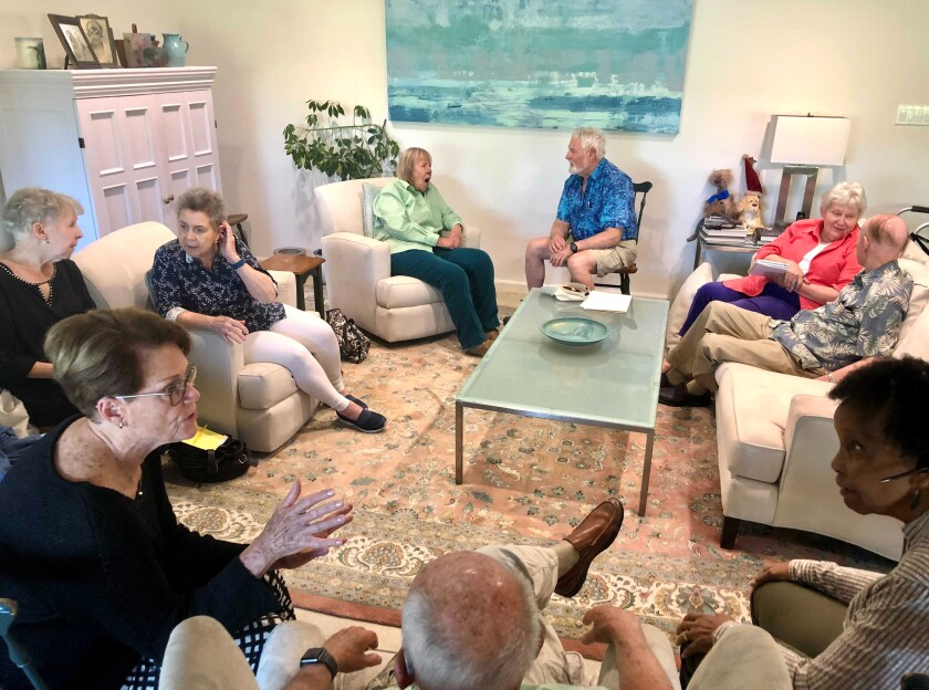 Members of the Democrats of Rossmoor Club gather to discuss aging leaders