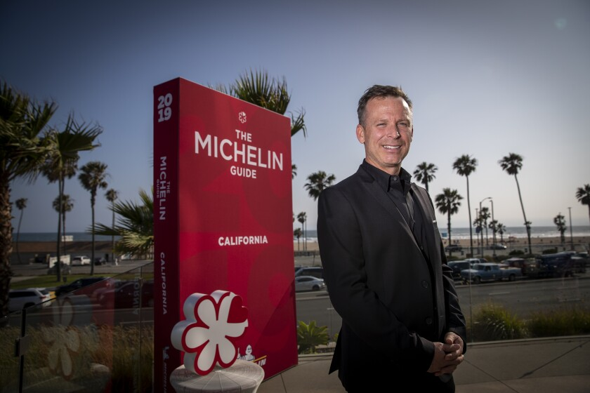 William Bradley, executive chef at Addison in San Diego, was awarded a Michelin one-star status during a live reveal of the inaugural 2019 Michelin Guide California in Huntington Beach Monday.