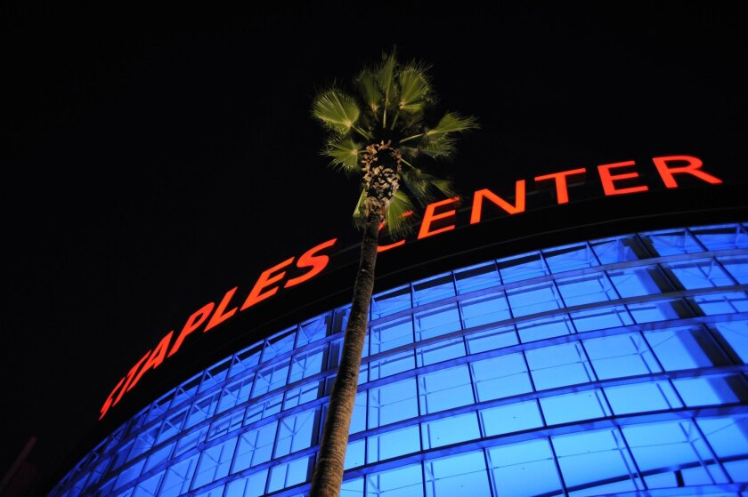 An exterior general view of Staples Center.
