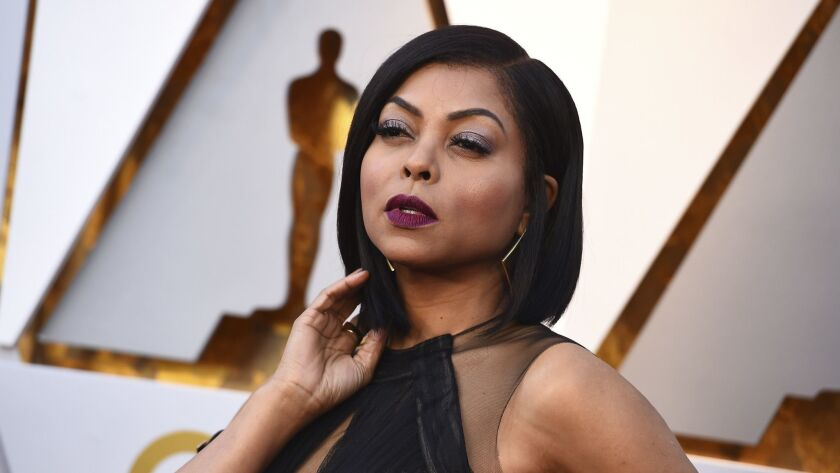 "In this March 4, 2018, file photo, Taraji P. Henson arrives at the Oscars at the Dolby Theatre in Los Angeles. Henson got more than a card on Mother's Day. The ""Empire"" actress got engaged to former Super Bowl star Kelvin Hayden."
