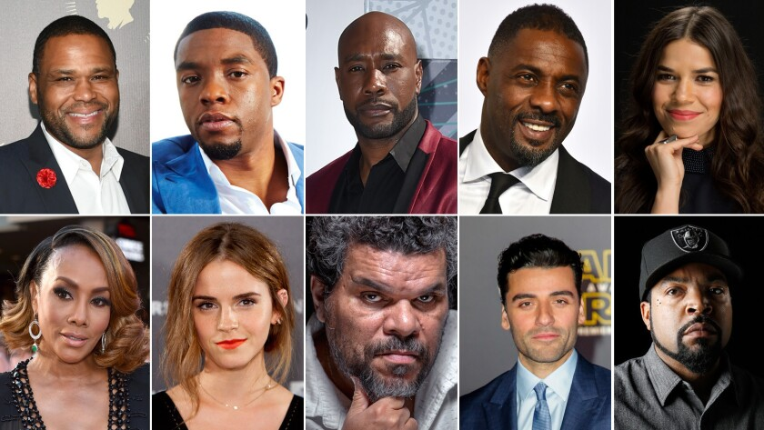 "Academy invitees include, top row, from left: Anthony Anderson, Chadwick Boseman, Morris Chestnut, Idris Elba, America Ferrera. Bottom row, from left: Vivica A. Fox, Emma Watson, Luis Guzmán, Oscar Isaac and O'Shea ""Ice Cube"" Jackson."