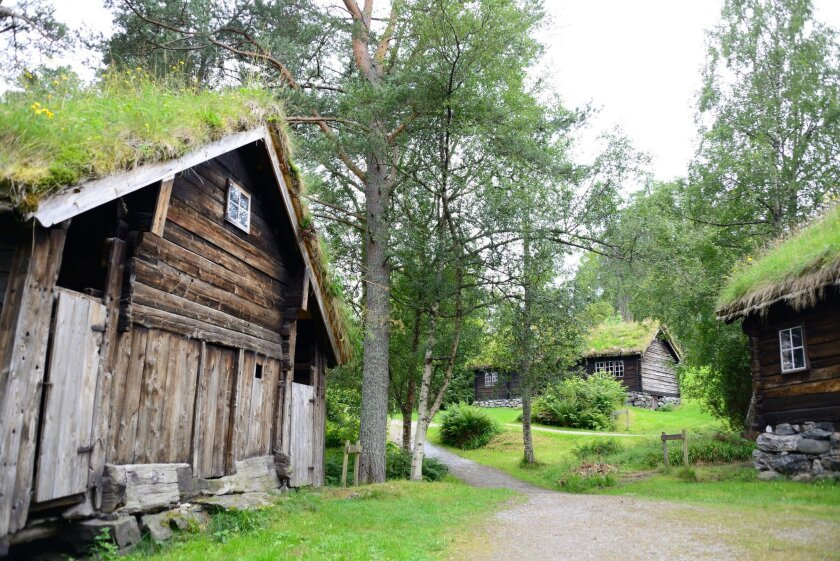 The open-air museum of Sunnmore near Alesund shows what life was likein the 1800s. The sod roofs even feature wildflowers.