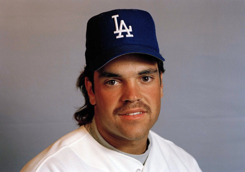 Hall of Fame catcher Mike Piazza poses for a photo during his time with the Dodgers.
