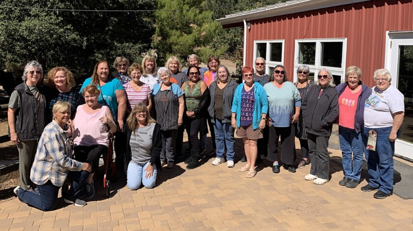 "The nonprofit San Diego County Gourd Artists held its annual retreat this fall at Whispering Winds Camp & Conference Center in the Cuyamaca Mountains, south of Julian. Attendees (pictured) learned new techniques from fellow artists, shared materials, discussed favorite finishes and traded their ""UFOs"" (unfinished projects). The group of 100 gourd artists call themselves a ""gourd patch"" and are a chapter of the California Gourd Society and the American Gourd Society. Members come from North County and all around San Diego and surrounding areas. The group participates in shows, fairs, festivals and related activities throughout the year. They meet every other month and sponsor classes. Visit sandiegocountygourdpatch.com."