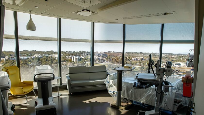 One of the patient rooms inside Jacobs Medical Center in La Jolla.