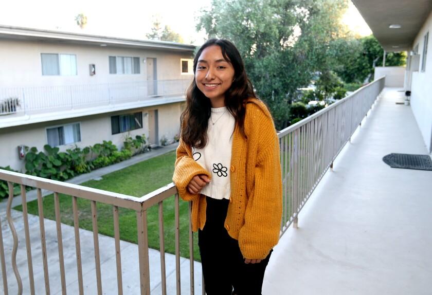 Paola Mendoza, who attends Costa Mesa's college prep school Early College, at her home in Costa Mesa.