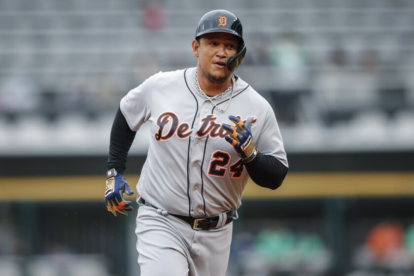 FILE - In this Sept. 28, 2019, file photo ,Detroit Tigers' Miguel Cabrera rounds the bases after hitting a solo home run off of Chicago White Sox's Reynaldo Lopez during the first inning in the first baseball game of a doubleheader in Chicago. (AP Photo/Kamil Krzaczynski, File)