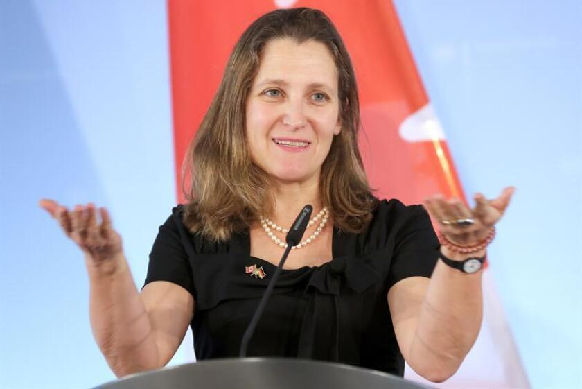 Canadian Foreign Minister Chrystia Freeland speaks during a press conference. EFE/ EPA/Archivo