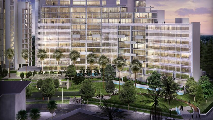 A rendering of a condo complex designed by architect Richard Meier at Wilshire and Santa Monica boulevards. The property and development rights are being acquired by Alagem Capital Group and Cain International.