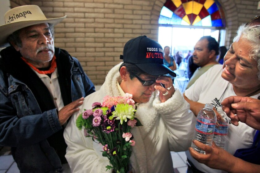 Blanca Luz Nava Velez of Guerrero, Mexico at Our Lady of Mount Carmel Catholic Church in San Ysidro on Monday, where she spoke about the disappearance of her son, 19-year-old Jorge Alvarez Nava.