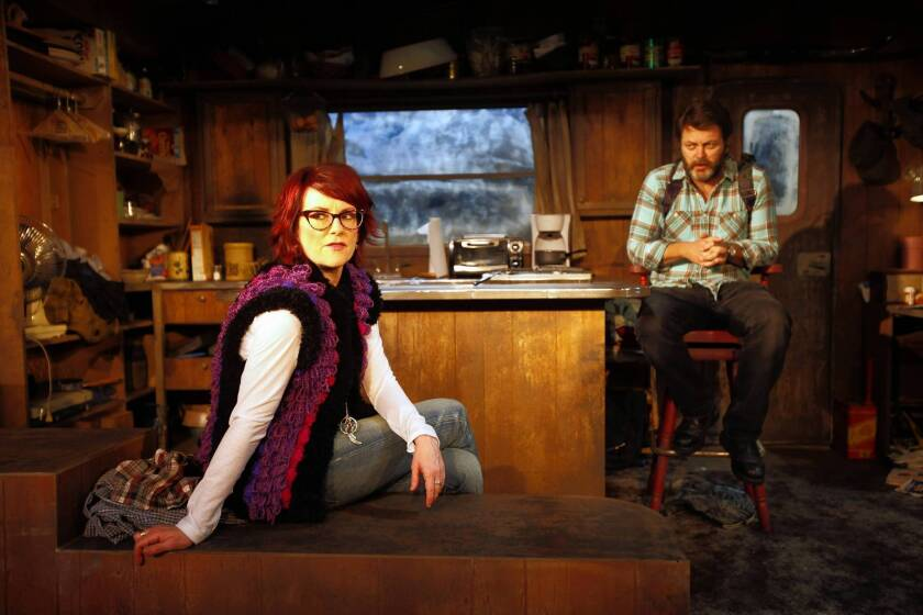 """Nick Offerman and Megan Mullally are teamed together in a production of """"Annapurna"""" at the Odyssey Theater in Los Angeles."""
