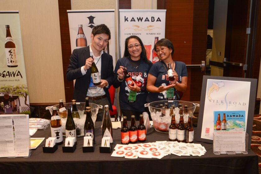 Among the offerings at the 17th annual Beer & Sake Festival: Makiri Sake, left, and two beers from Japanese craft brewery Kawaba, Sunrise Ale and Snow Weizen.