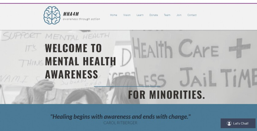 The website for the student-supported Mental Health Awareness for Minorities organization.