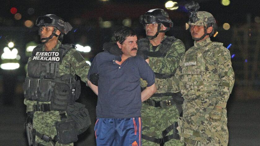 "Mexican drug lord Joaquin ""El Chapo"" Guzman in Mexico City in 2016."