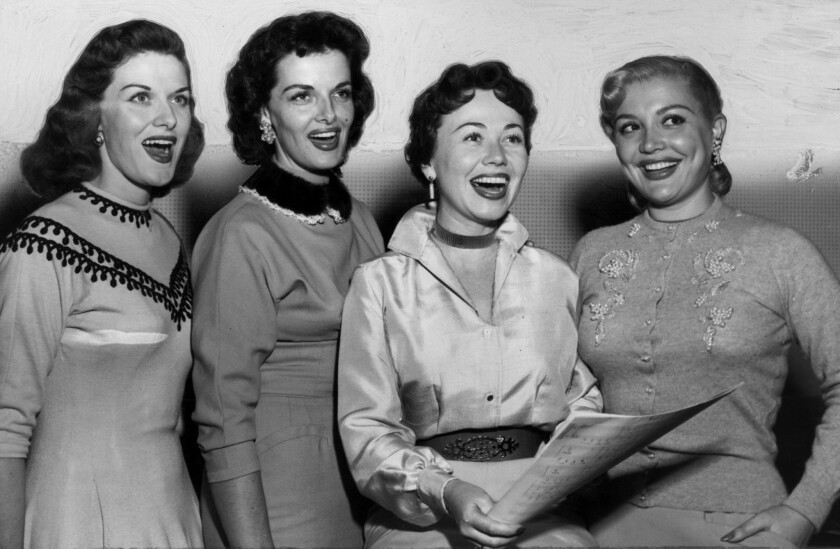 """In the 1950s, Beryl Davis, left, formed a vocal quartet with Jane Rusell, Connie Haines and Della Russell that recorded the hit gospel song """"Do Lord."""""""