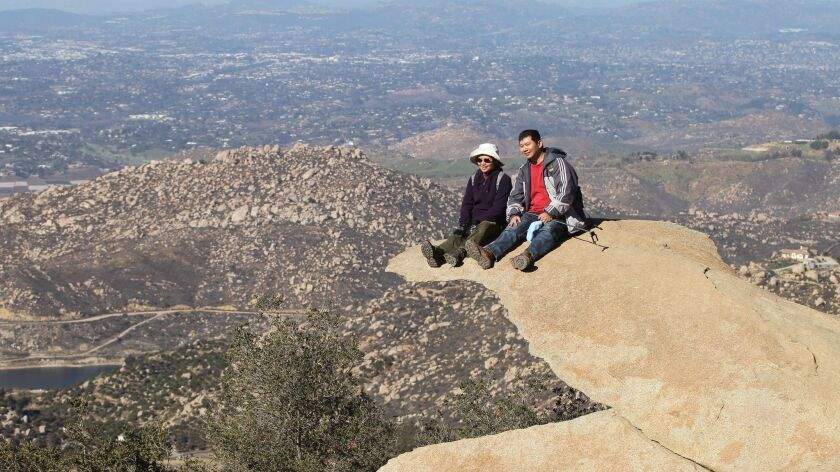 This picture of Potato Chip Rock on Mount Woodson by U-T photographer Charlie Neuman was the cover s
