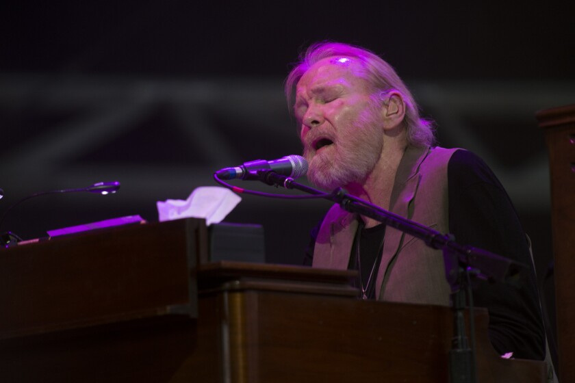Gregg Allman, shown at the Stagecoach Country Music Festival in Indio last year, was not aboard a tour bus that crashed Tuesday in West Virginia, injuring three production crew members.