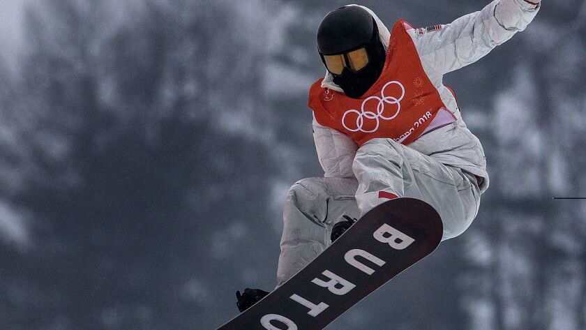 Shaun White practices on the halfpipe at Phoenix Snow Park during the Pyeongchang Winter Olympics.