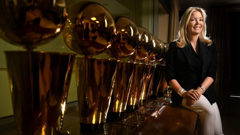 EL SEGUNDO, CALIFORNIA JUNE 12, 2017-Jeannie Buss, President of the Los Angeles Lakers, sits next to