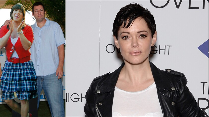 """Surprise! Rose McGowan found something really stupid related to a project starring Adam Sandler (shown with his female alter ego at the 2011 premiere of """"Jack and Jill."""""""