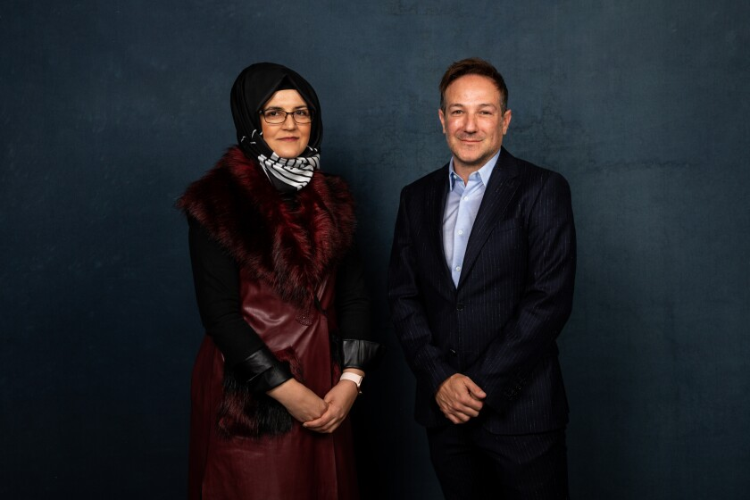 "Hatice Cengiz, fiancee of slain journalist Jamal Khashoggi, and director Bryan Fogel from the documentary, ""The Dissident."""