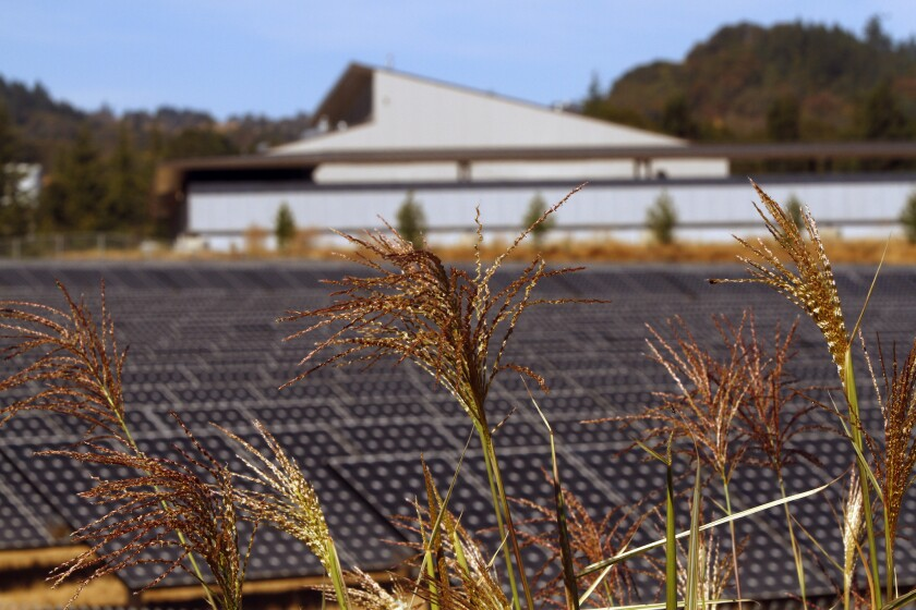 Solar panels help power some buildings in Ukiah, Calif.