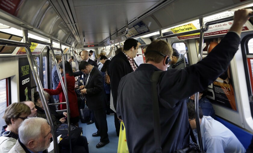 An unidentified man passed out while standing up Wednesday morning on a crowded PATH train, similar to this one.