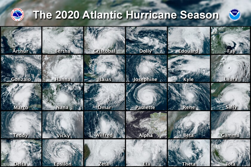 A combination of satellite images of 30 hurricanes from the 2020 Atlantic hurricane season.