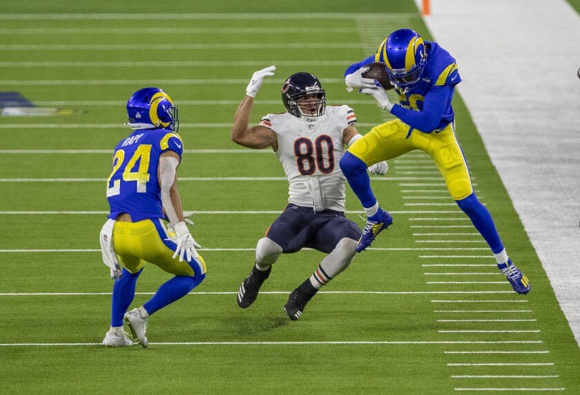 Rams cornerback Jalen Ramsey intercepts a pass intended for Bears tight end Jimmy Graham.