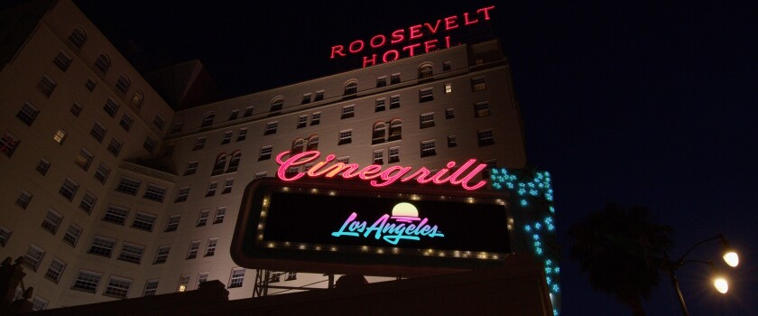 L.A.'s new logo is displayed on a billboard before the Roosevelt Hotel in Hollywood last month