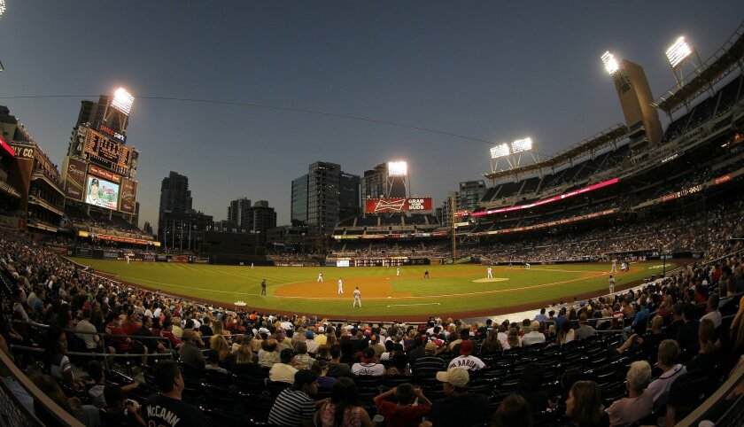 The Padres took on the Braves on a clear night at Petco Park on Tuesday, August 28, 2012.