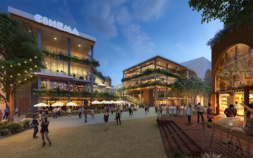 An artist rendering shows The Campus at Horton from the perspective of someone standing facing the plaza's entryway from Horton Plaza Park. On the left, a luxury cinema concept replaces the former multi-plex on the top story of the building, with two floors of office below it, and food and beverage options on the ground floor. On the far right, steps lead up to the Bradley Building, where a food hall is envisioned.