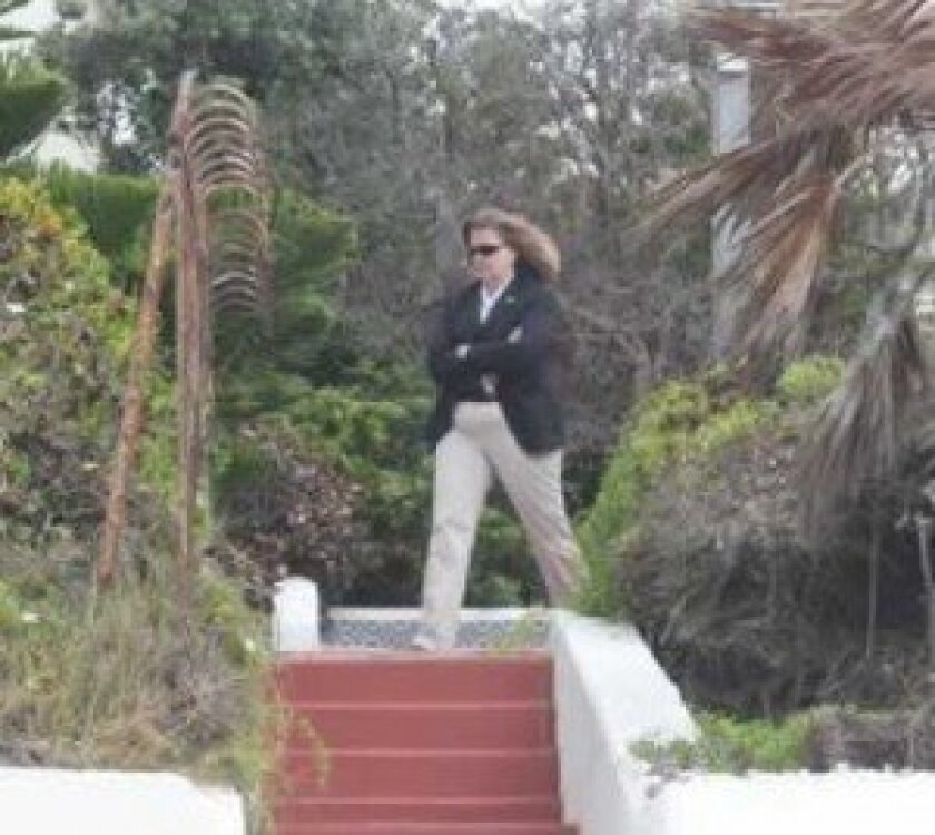 A Secret Service agent stood posted atop stairs leading from the beach to Romney's La Jolla home, in anticipation of his arrival Memorial Day weekend. Pat Sherman photos